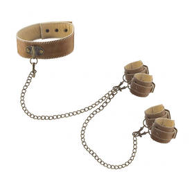 Ouch - Brown, Leather Collar with hand & ankle cuffs - Bondage - 35173 - 1